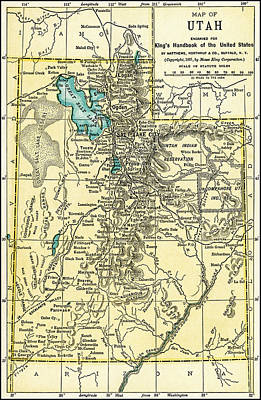 Photograph - Utah Antique Map 1891 by Phil Cardamone