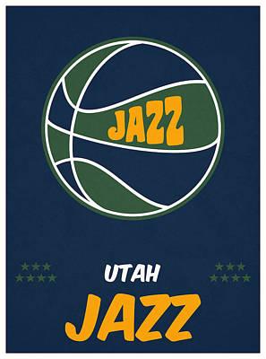 Utah Jazz Wall Art - Mixed Media - Utah Jazz Vintage Basketball Art by Joe Hamilton