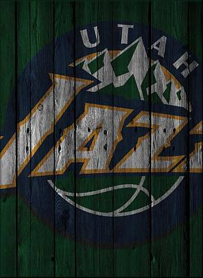 Utah Jazz Wood Fence Art Print