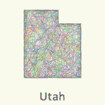 Abstract Map Drawing - Utah Line Art Map by David Zydd