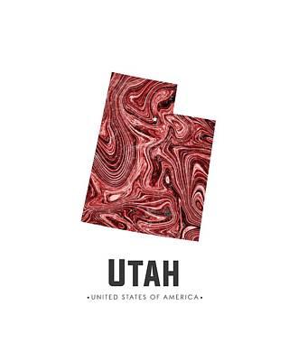 Mixed Media - Utah Map Art Abstract In Deep Red by Studio Grafiikka
