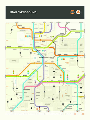 London Tube Digital Art - Utah Map by Jazzberry Blue