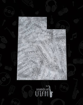 Jazz Royalty-Free and Rights-Managed Images - Utah Map Music Notes 2 by Bekim M