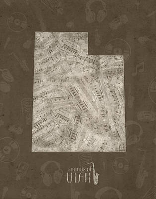 Music Royalty-Free and Rights-Managed Images - Utah Map Music Notes 3 by Bekim Art
