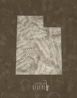 Utah Jazz Wall Art - Digital Art - Utah Map Music Notes 3 by Bekim Art