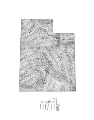Music Royalty-Free and Rights-Managed Images - Utah Map Music Notes by Bekim Art