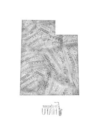 Utah Jazz Wall Art - Digital Art - Utah Map Music Notes by Bekim Art