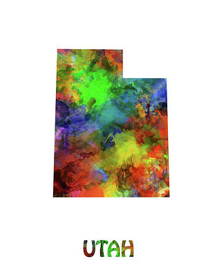 Jazz Royalty-Free and Rights-Managed Images - Utah Map Watercolor by Bekim Art