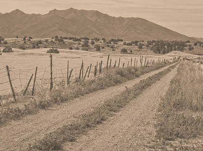 Photograph - Utah Ranch Road Sepia by David King