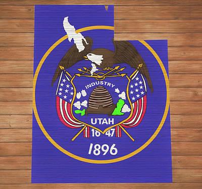 Photograph - Utah Rustic Map On Wood by Dan Sproul