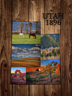 Photograph - Utah State Map Collage by Rick Berk