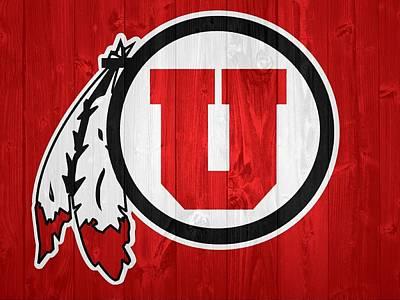 Football Mixed Media - Utah Utes Barn Door by Dan Sproul