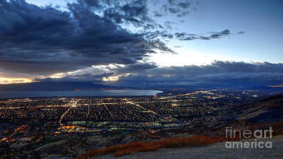 Utah Valley And Provo At Sunset Photograph By Gary Whitton