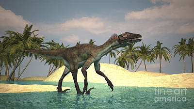 Utahraptor Walking Across A Riverbed Art Print