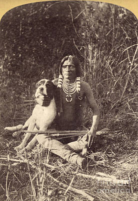 Photograph - Ute Man With Dog, C1874 by Granger