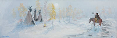 Animals Paintings - Ute Winter Camp by Jerry McElroy