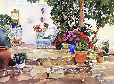 Painting - Utes Garden With Flowers And Pots by Margaret Merry