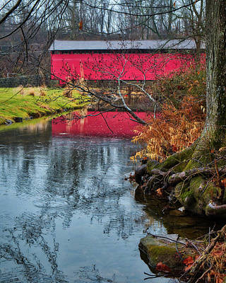 Art Print featuring the photograph Utica Covered Bridge by Mark Dodd