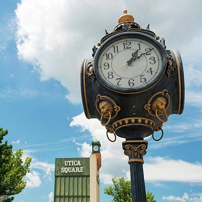 Photograph - Utica Square Vintage Clock - Tulsa Oklahoma by Gregory Ballos