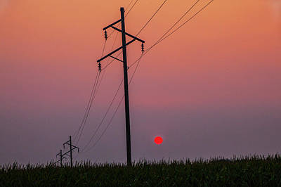 Photograph - Utilty Poles And Power Lines Over A Cornfield At Sunset In Iowa by Randall Nyhof