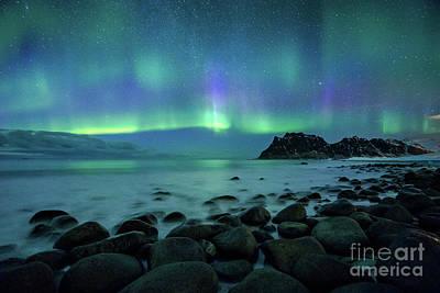 Photograph - Uttakleiv Beach Aurora by JR Photography