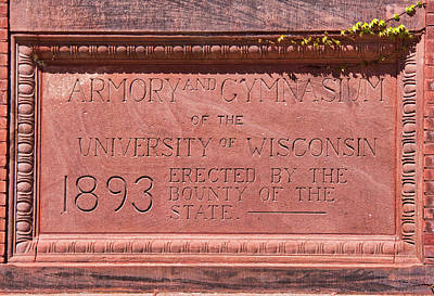 Photograph - Uw Red Gym Plaque by Steven Ralser