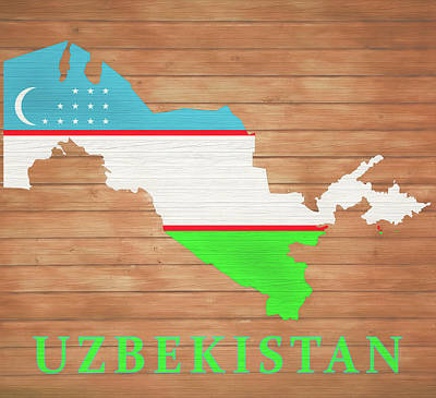 Mixed Media - Uzbekistan Rustic Map On Wood by Dan Sproul