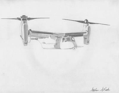 V-22 Osprey Military Aircraft Art Print Art Print by Stephen Rooks