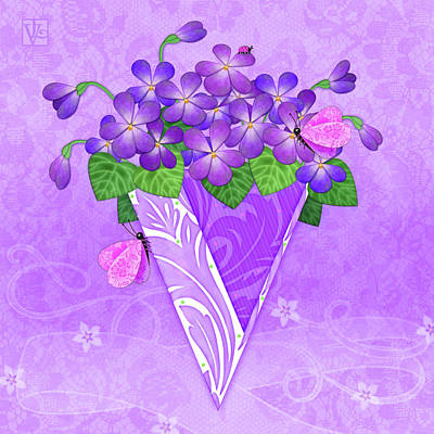 Digital Art - V Is For Violets by Valerie Drake Lesiak