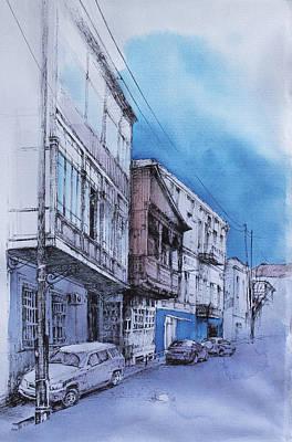Tbilisi Drawing - V. Orbeliani Str. by Anastasia Logvinenko