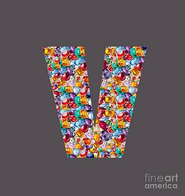 Painting - V Vv Vvv Jewels Alpha Art On Shirts Alphabets Initials   Shirts Jersey T-shirts V-neck   Navinjoshi  by Navin Joshi