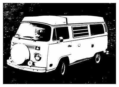 Vw Beetle Painting - V W Campervan Black And White by Enki Art
