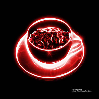 Digital Art - V2-bb-electrifyin The Coffee Bean-red by James Ahn