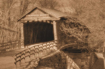 Photograph - Va Country Roads - Humpback Covered Bridge Over Dunlap Creek No. 18d - Sepia - Alleghany County by Michael Mazaika