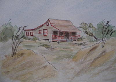 Art Print featuring the painting Vacation Cottage - Kitty Hawk by Joel Deutsch