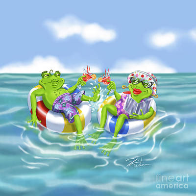 Mixed Media - Vacation Happy Frog Couple by Shari Warren