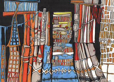 Colorful Abstract Drawing - Vacation Land by Sandra Church