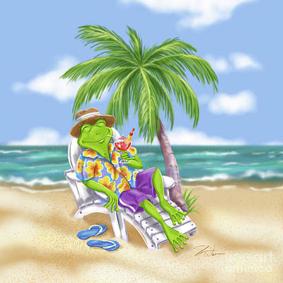 Mixed Media - Vacation Relaxing Frog by Shari Warren