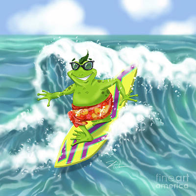 Mixed Media - Vacation Surfing Frog by Shari Warren