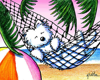 West Highland Drawing - Vacation Westie by Kim Niles