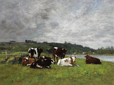 Painting - Vaches Au Paturage by Eugene Boudin