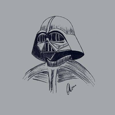 Drawing - Vader Sketch by Chris Thomas