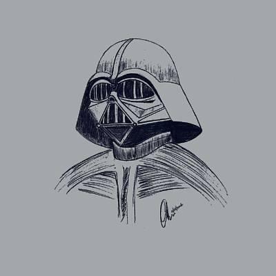 Drawing - Vader Sketch by Chris Thomas