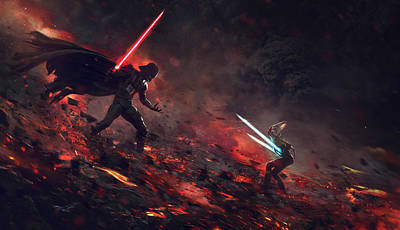Vader Vs Ahsoka Art Print by Guillem H Pongiluppi