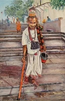 Sadhu Painting - Vagrant In Ganga Ghat by Lasya Upadhyaya
