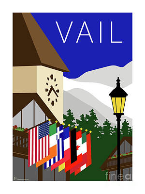 Digital Art - Vail Blue by Sam Brennan