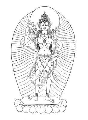 Tibetan Buddhism Drawing - Vajrayogini by Andrea Nerozzi