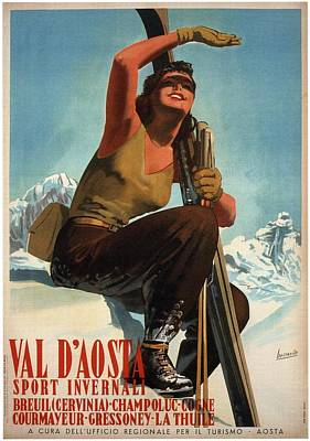 Royalty-Free and Rights-Managed Images - Val Daosta Sport Invernali - Ski Poster - Retro travel Poster - Vintage Poster by Studio Grafiikka