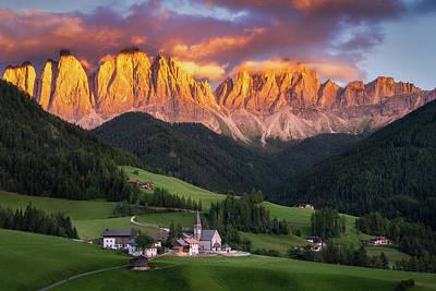 Photograph - Val Di Funes Sunset by Edwin Mooijaart