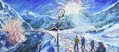 Painting - Val D'isere Skiing Painting La Daille by Pete Caswell